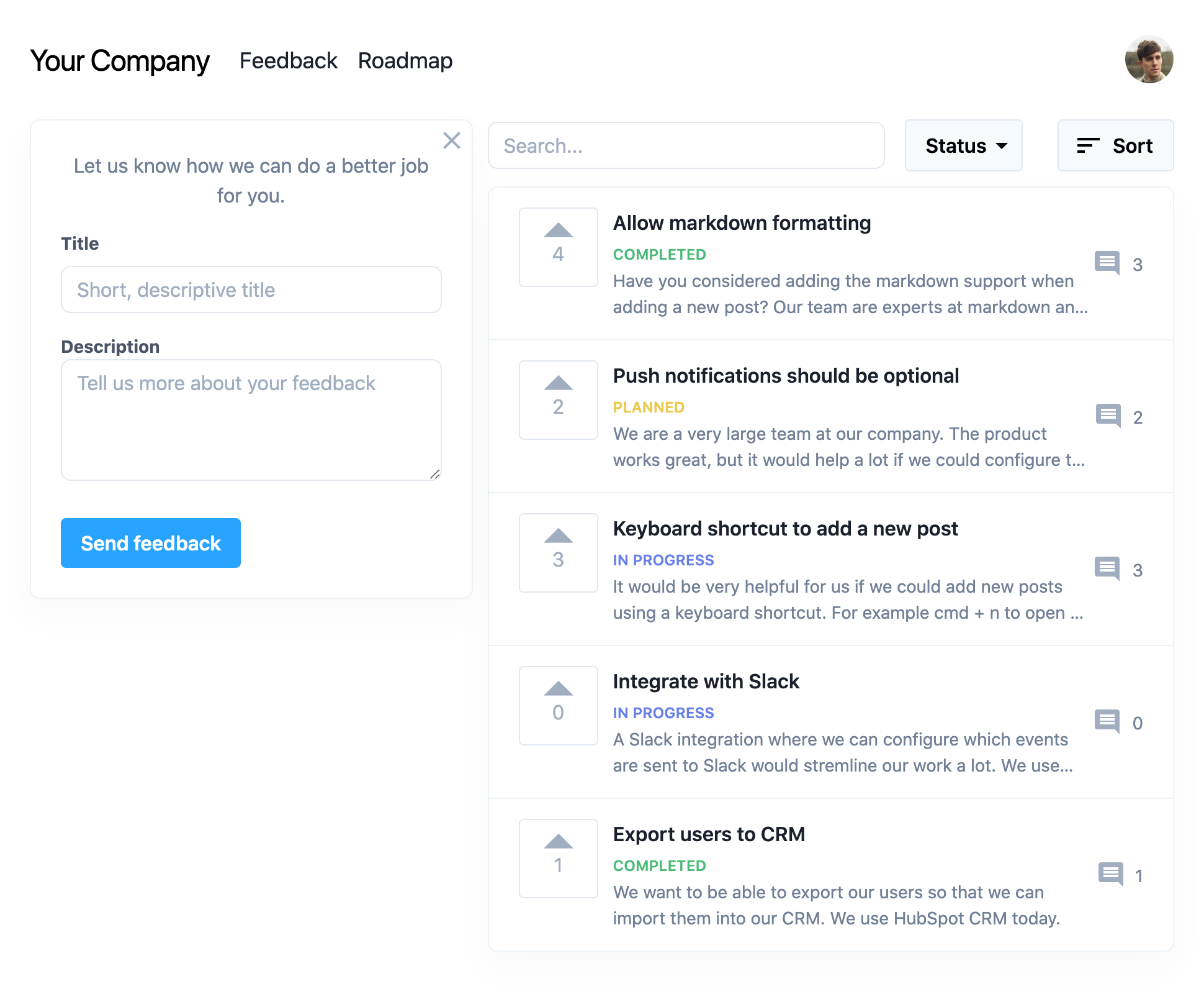 Product feedback page where customers can share, discuss and upvote feature requests.